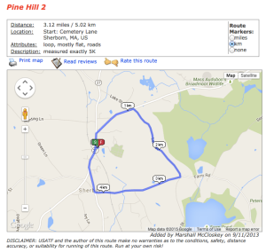 Pine Hill 5K Route
